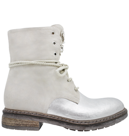Now Now Silver+OffWhite Lace-Up Boot With Jewel Detail 5698