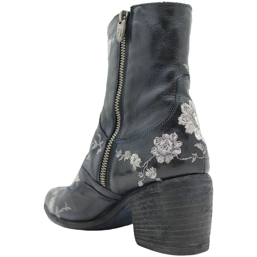 Fauzian Jeunesse FauzianJeunesse Navy /Silver Embroider Ankle Boot 1197