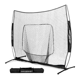 PowerNet 7X7 PRO Baseball - Single Piece Frame Hitting Net - BLACK