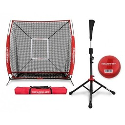 PowerNet Practice Net 5 x 5 + Portable Tee (Bundle with Strike Zone, and Training Ball)
