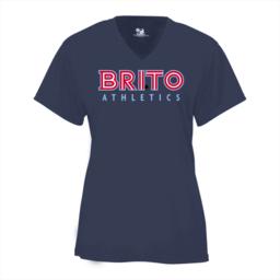 Brito Athletics Badger Ladies V-Neck Dry Fit - 4162 Navy