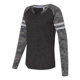 LAT - Women's Fine Jersey Mash Up Long Sleeve T-Shirt - 3534