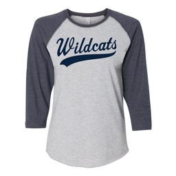 Wildcats Baseball LAT - Women's Baseball Fine Jersey Three-Quarter Sleeve Tee - 3530