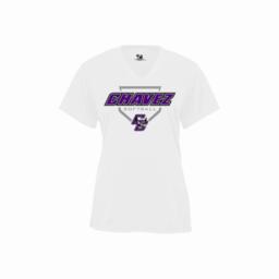 Chavez Softball Badger Ladies V-Neck White Performance Shirt
