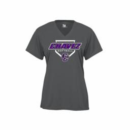 Chavez Softball Badger Ladies V-Neck Graphite Performance Shirt