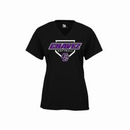 Chavez Softball Badger Ladies V-Neck Black Performance Shirt