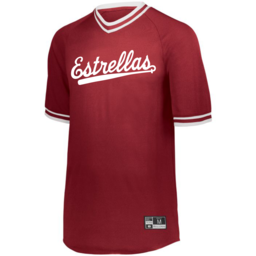 Cinco Holloway Retro V-Neck Baseball Jersey Adult Red