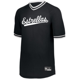 Cinco Holloway Retro V-Neck Baseball Jersey Adult Black