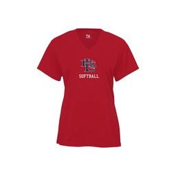 LHS SB Red Women's B-Core V-Neck T-Shirt - 4162