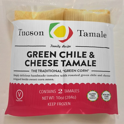 Tucson Tamale Green Chile & Cheese Tamales, Bag of 2