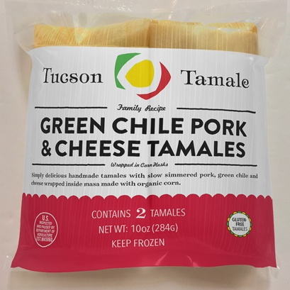 Tucson Tamale Green Chile Pork & Cheese Tamales, Bag of 2
