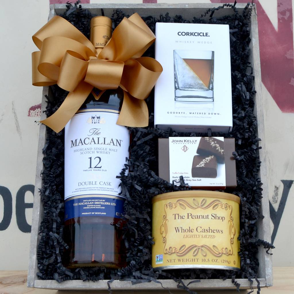 Macallan 12 Year Single Malt Highland Scotch Whisky Gift Basket