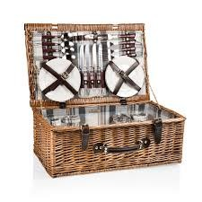 Picnic Time Newbury English Style Willow Picnic Basket for Four