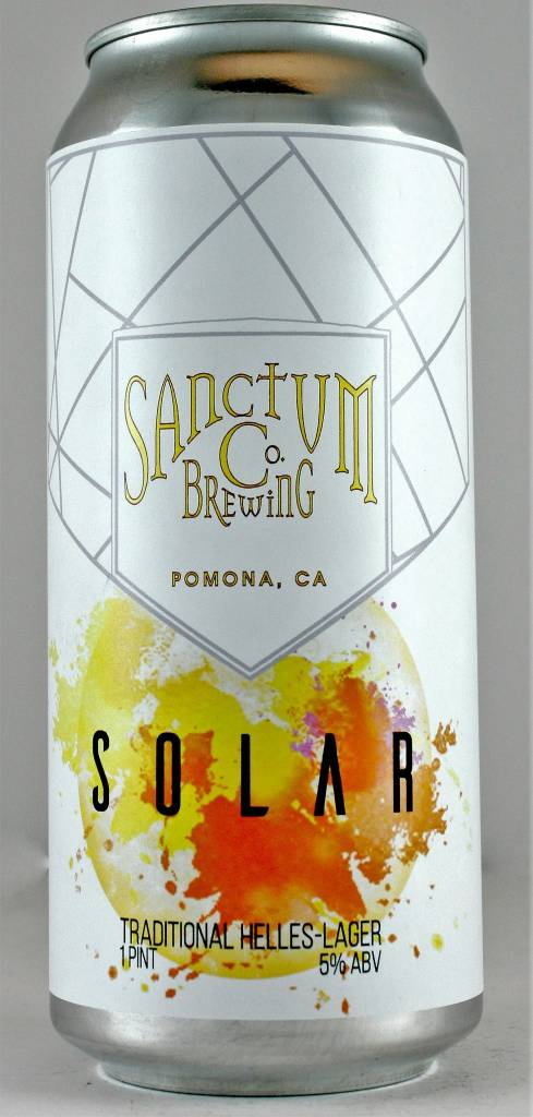 "Sanctum Brewing Co ""Solar"" Traditional Hells Lager 16oz Can - Pomona CA"
