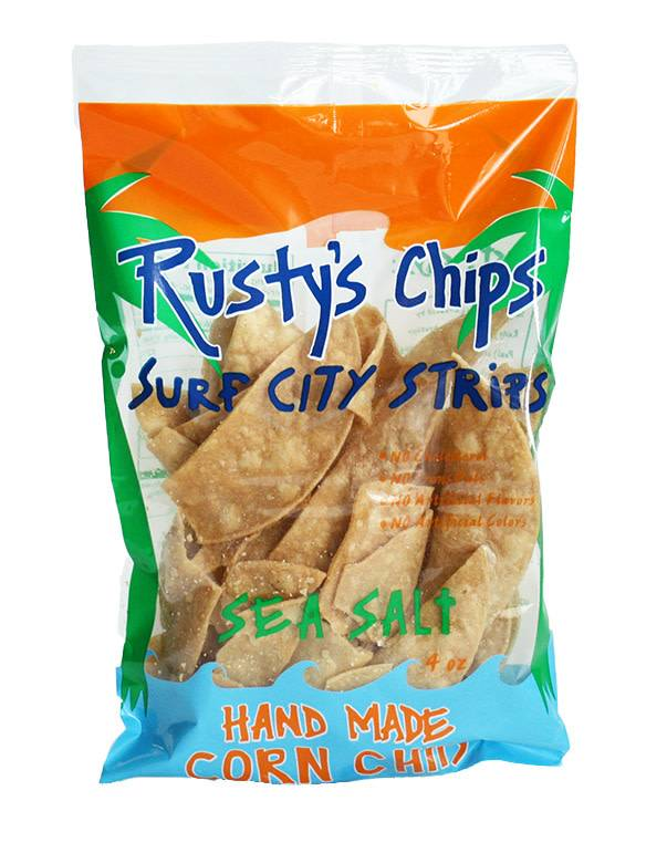 Rusty's Chips Surf City Strips - Sea Salt Hand Made Corn Chips