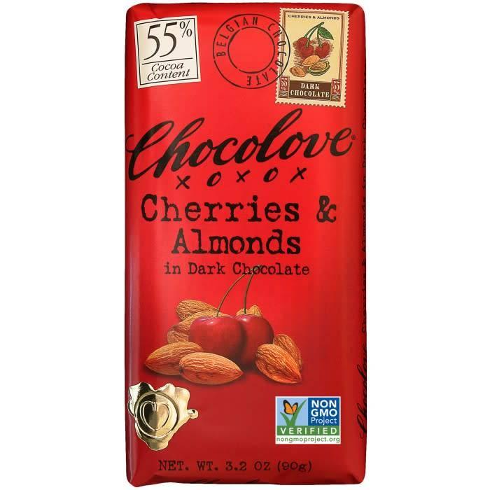 Chocolove Cherries & Almonds Dark Chocolate Bar, Boulder