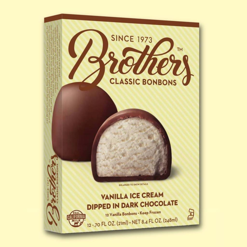 Brothers Classic Bonbons Vanilla Ice Cream Dipped in Dark Chocolate, Santa Ana, California