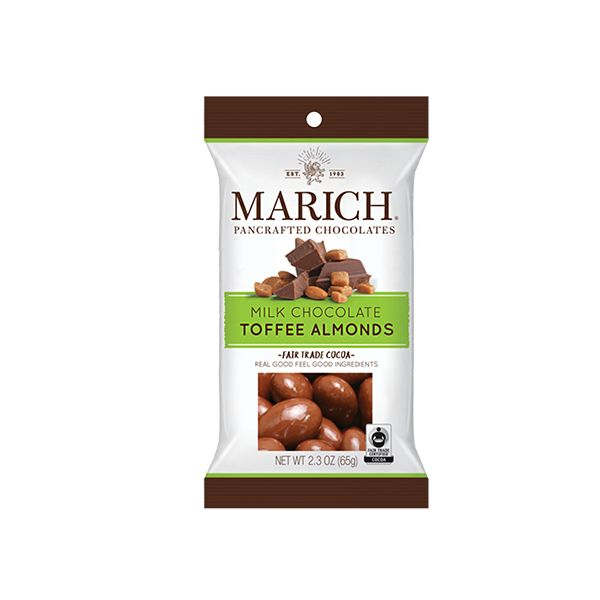 Marich Milk Chocolate Toffee Almonds, Hollister, CA 2.3oz