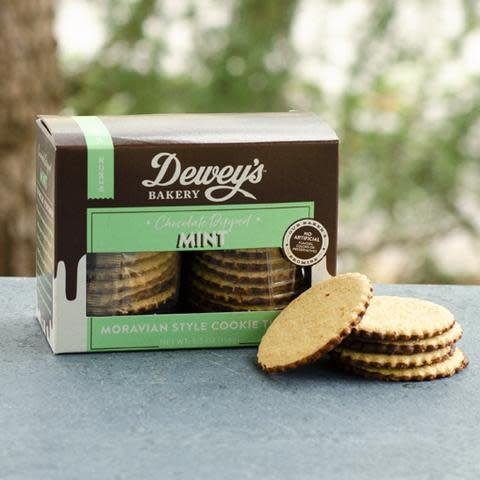 Dewey's Bakery Chocolate Dipped Mint Cookie Thins, North Carolina