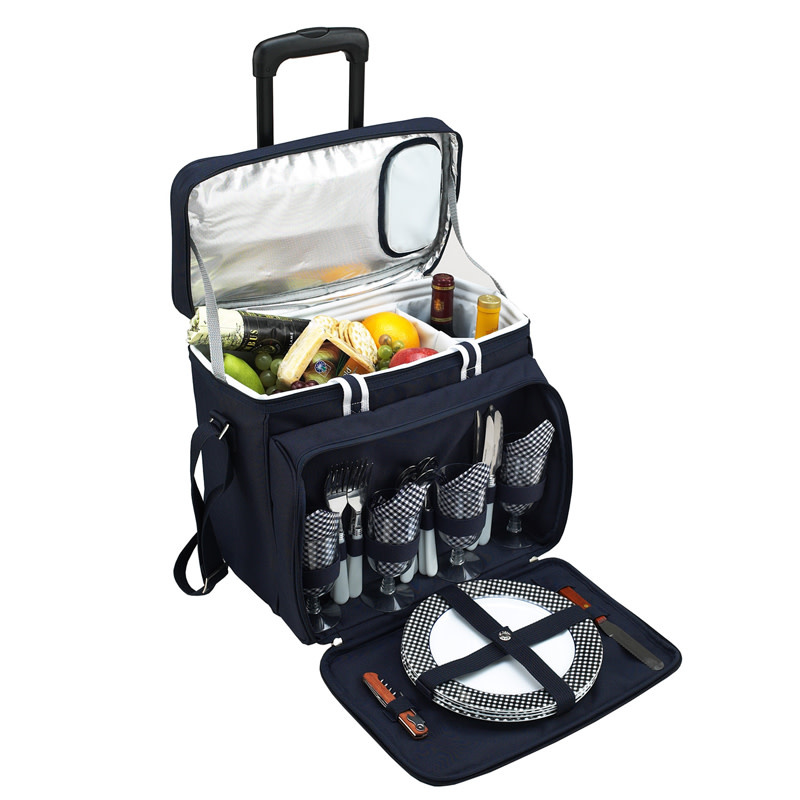 Picnic At Ascot Deluxe Picnic Cooler for Four on Wheels