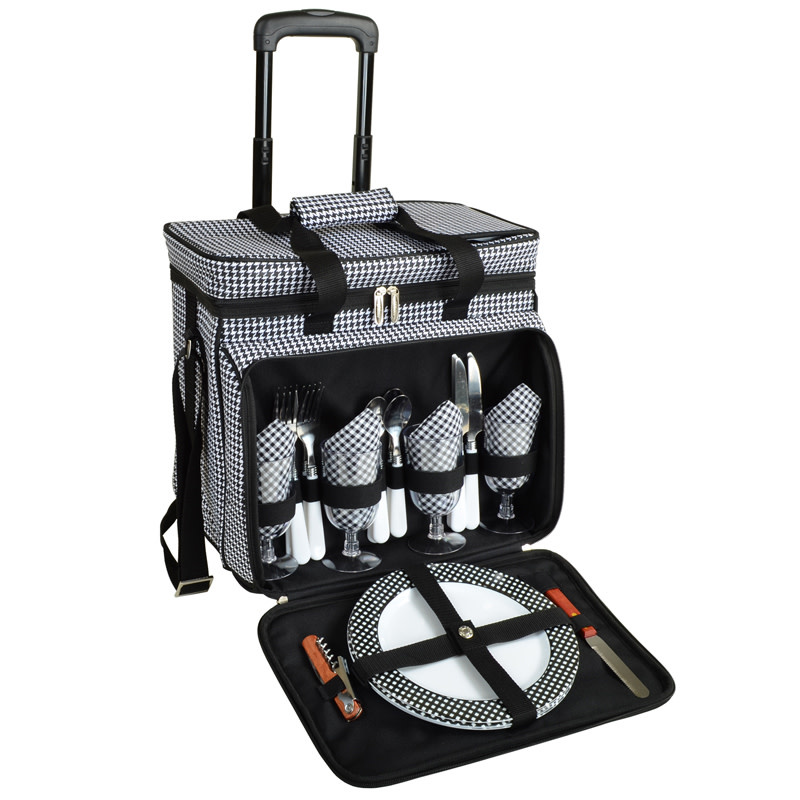 Picnic At Ascot Houndstooth Cooler For Four on Wheels