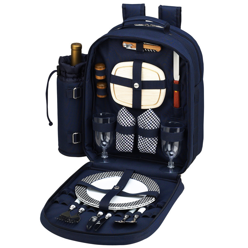 Picnic At Ascot Picnic Backpack For Two, Navy