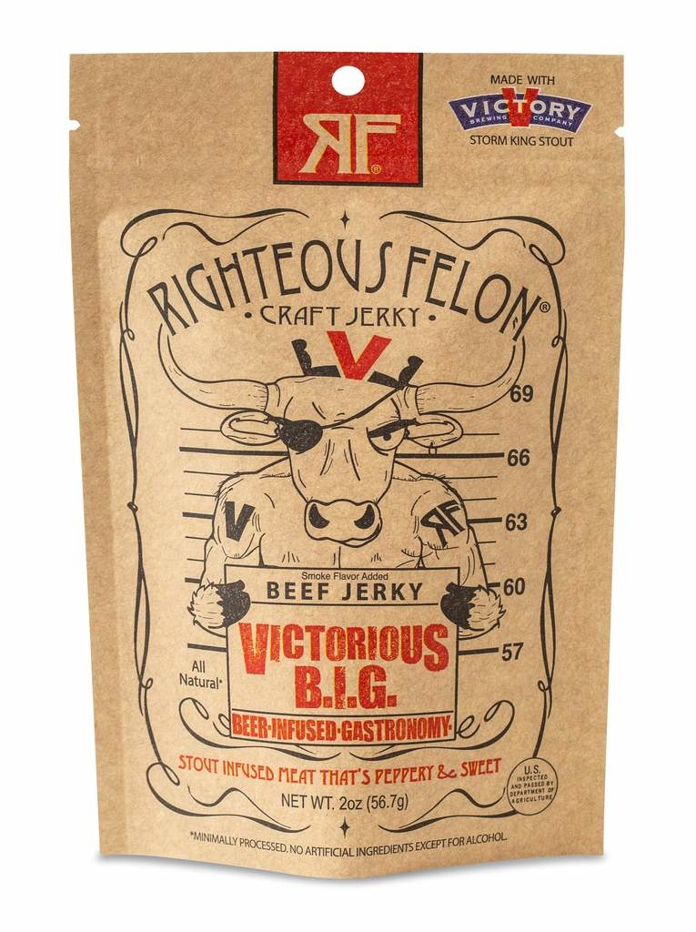 """Righteous Felon """"Victorious B.I.G."""" Stout Infused Beef Jerky 2oz., West Chester, PA"""
