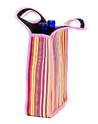 Cool Sack Neoprene Two Bottle Wine Tote Pink Stripe