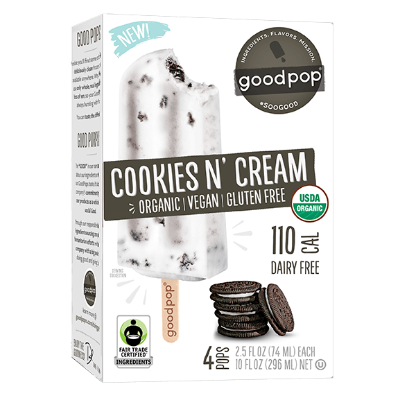 Goodpop Cookies N'Cream Organic Frozen Bars 4 pack