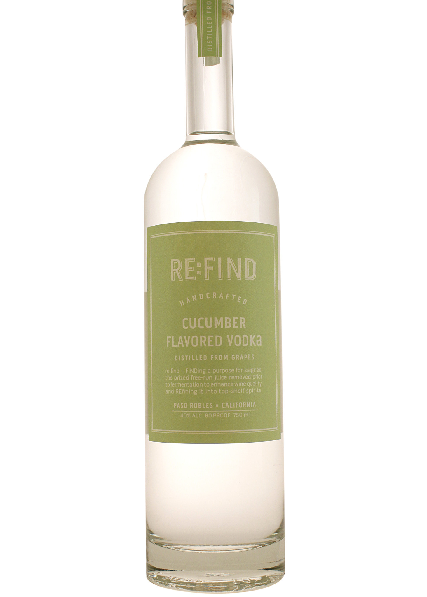 RE:FIND Cucumber Flavored Vodka, Paso Robles