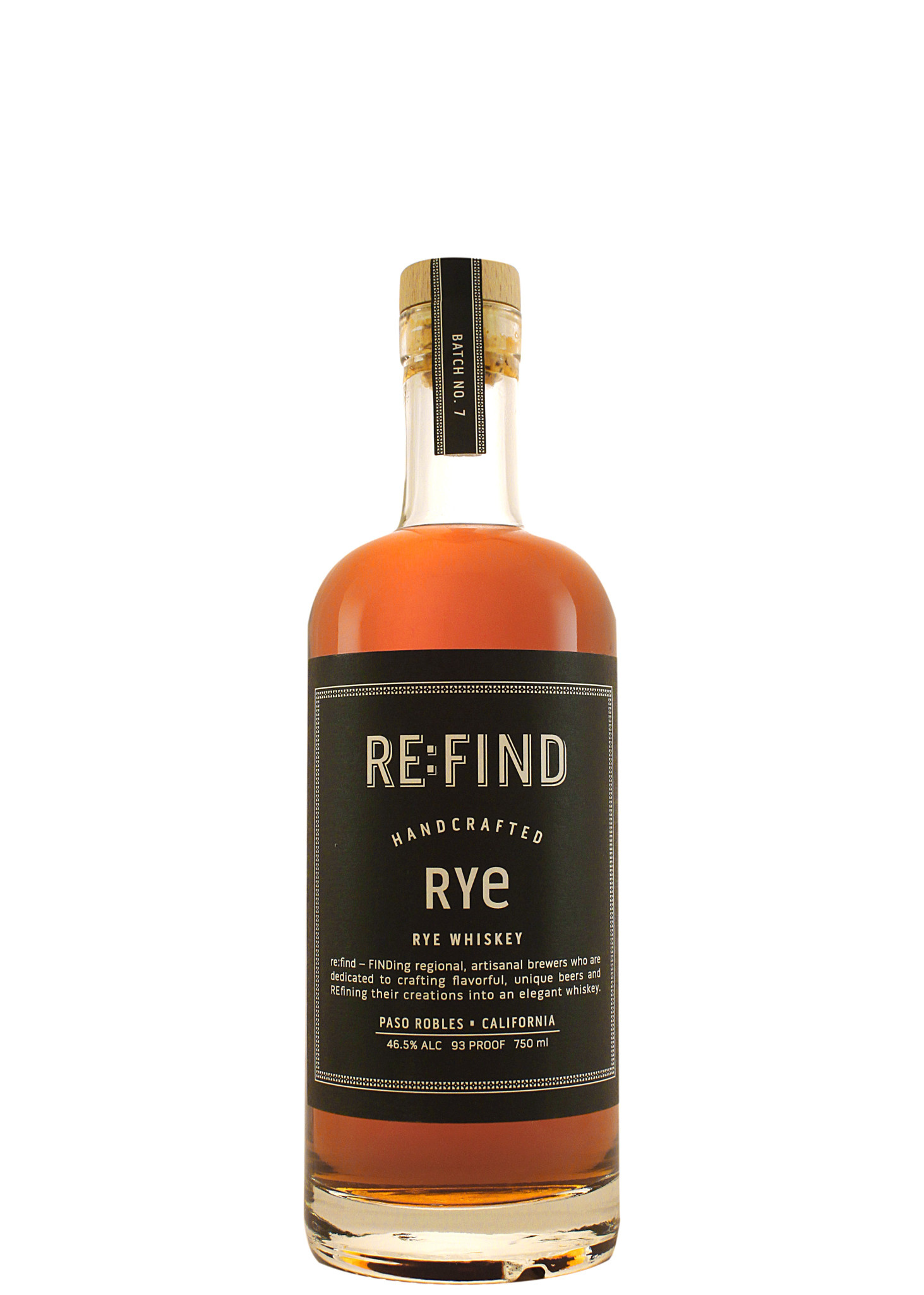 Re:Find Handcrafted Rye Whiskey, Paso Robles