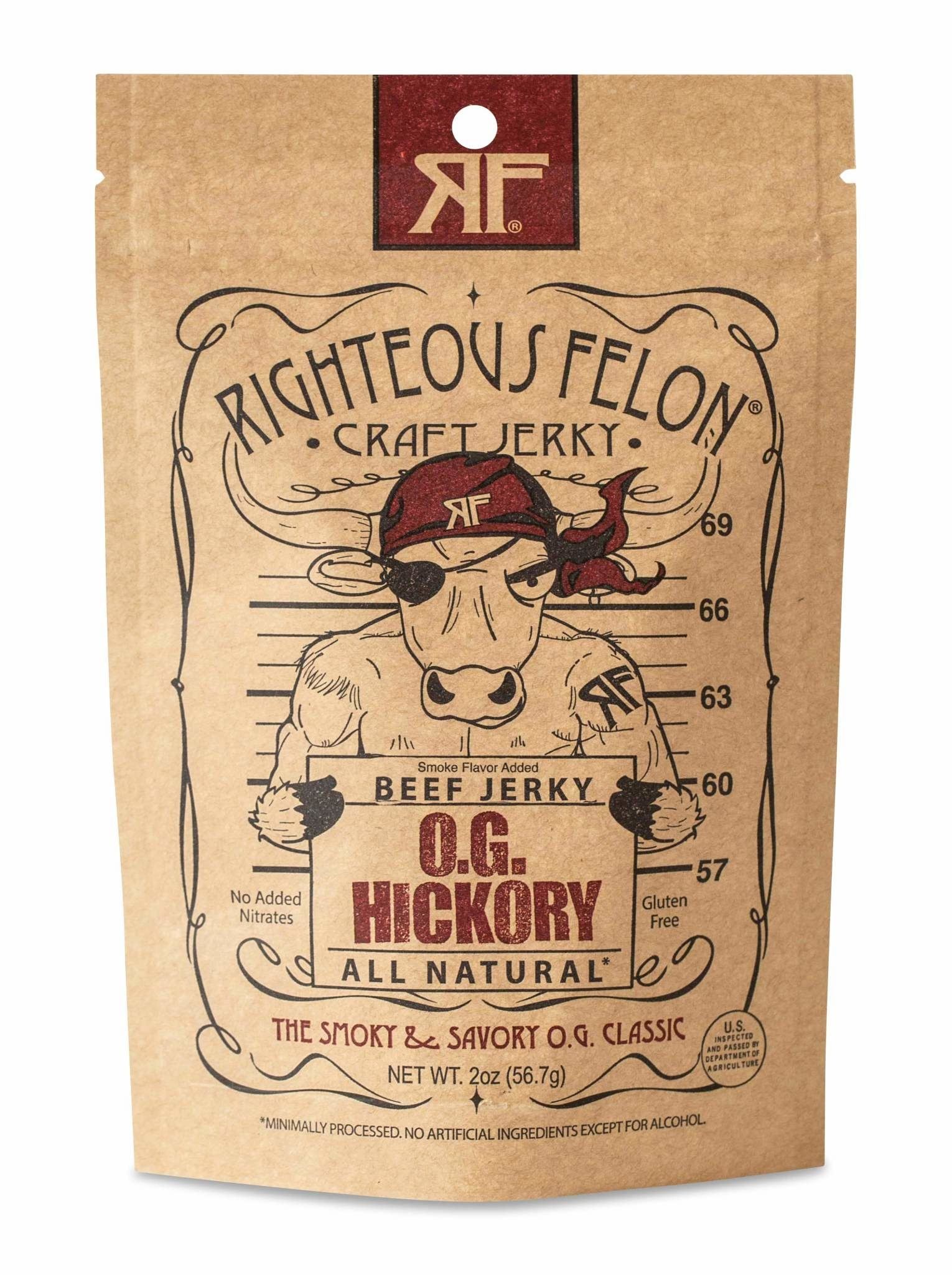 """Righteous Felon """"O.G. HIckory"""" Craft Beef Jerky 2oz. West Chester, PA"""