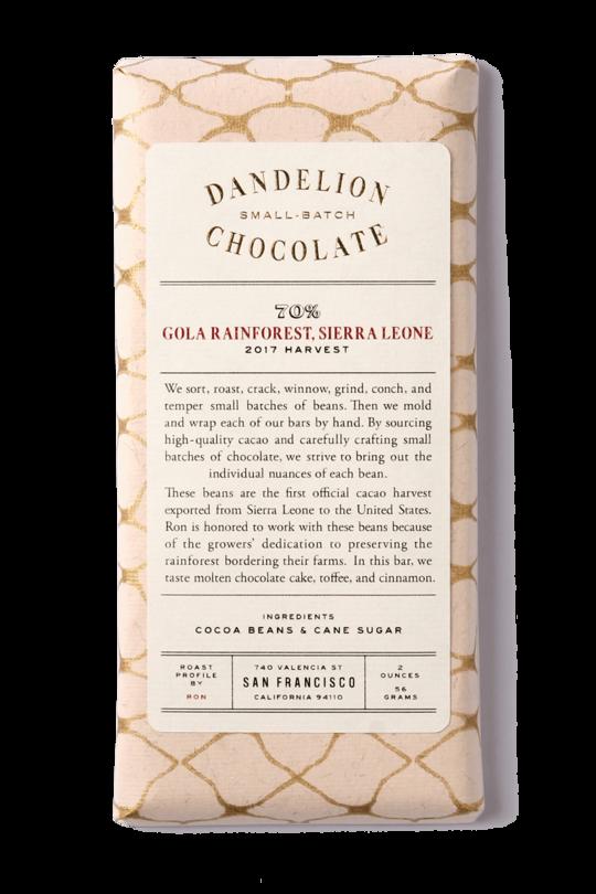 Dandelion Chocolate 70% Gola Rainforest, Sierra Leone, San Francisco