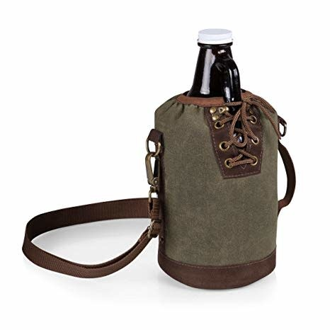Picnic Time Canvas Double Growler Tote Khaki/Brown