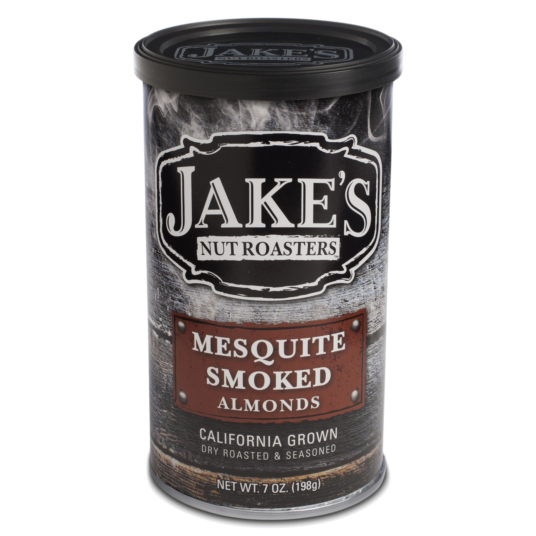 Jake's Mesquite Smoked Almonds 7oz. can, Newman, California