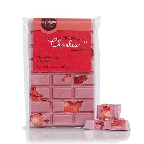 Charles Chocolates Strawberry Bar Ruby Cacao, 3.5oz.