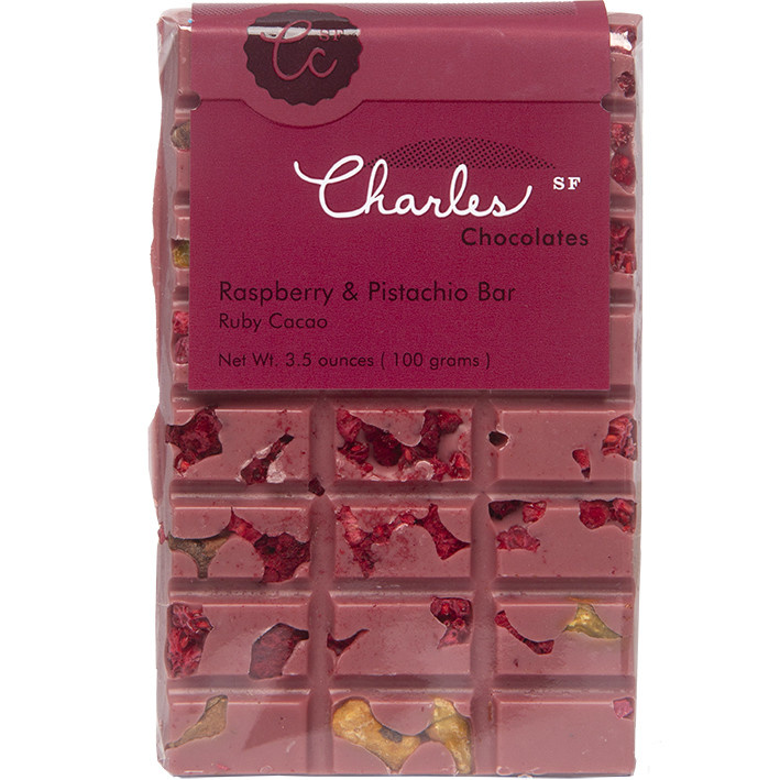 Charles Chocolates Raspberry & Pistachio Bar Ruby Cacao, 3.5oz.