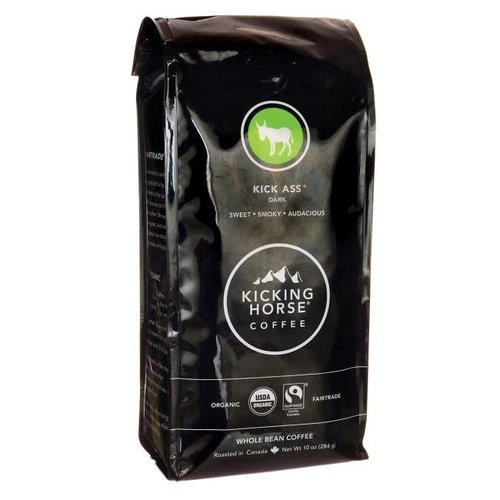 "Kicking Horse Coffee ""Kick Ass"" Dark Roast Whole Bean, British Columbia, 10 oz bag"