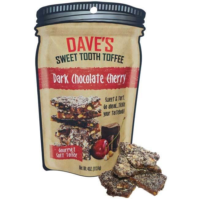 Dave's Sweet Tooth Dark Chocolate Cherry Toffee, 4oz, Michigan
