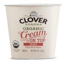 Clover Sonoma Organic Cream on Top Peach Yogurt, 6oz
