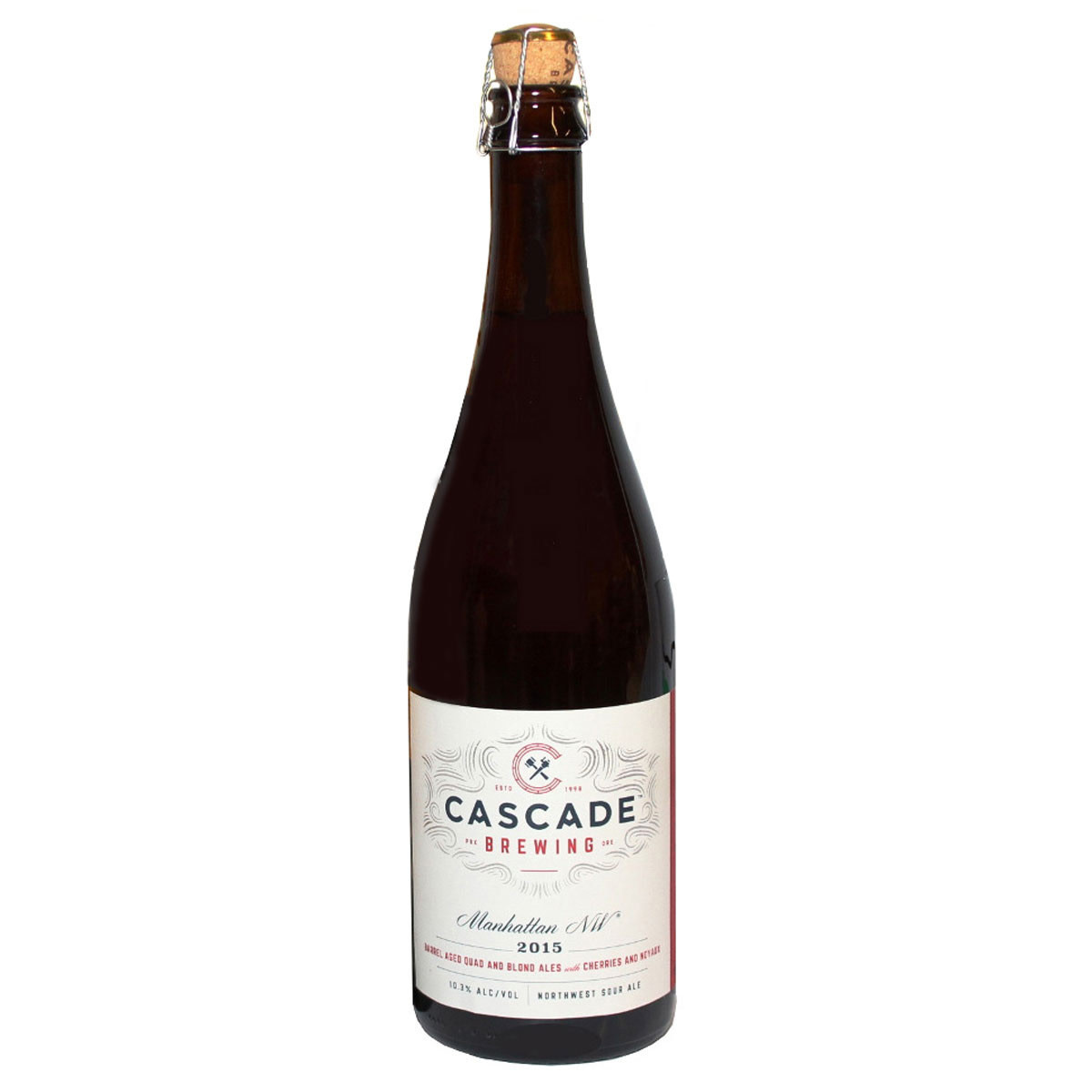 "Cascade Brewing "" Manhattan NW"" Quad/Blonde Ale with cherries and noyaux 750ml bottle- Portland, Oregon"