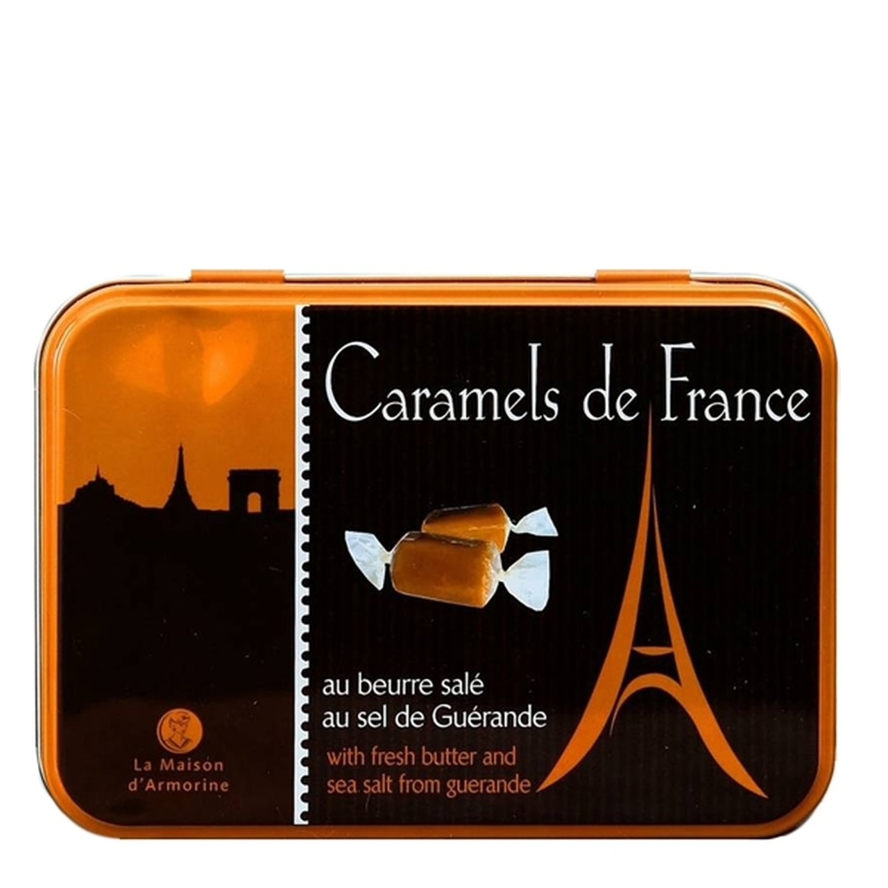 La Maison d'Armorine Chocolate Salted Butter Caramels in an Eiffel Tower Tin, 5.3oz