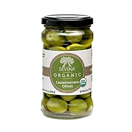 Divina Organic Castelvetrano Whole Olives Jar, Sicily