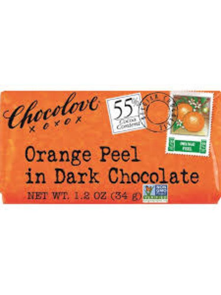 Chocolove Orange Peel in Dark Chocolate Mini Bar, Boulder, 1.2 oz.