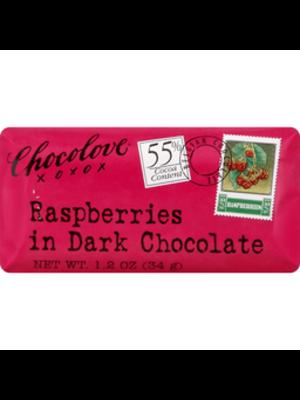 Chocolove Raspberries Dark Chocolate Mini Bar, Boulder, 1.3 oz.