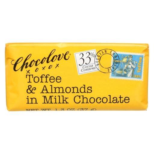Chocolove Toffee & Almonds in Milk Chocolate Mini Bar, Boulder 1.3 oz.