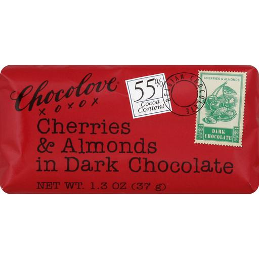Chocolove Cherries & Almonds in Dark Chocolate Mini Bar, Boulder, 1.3 oz.