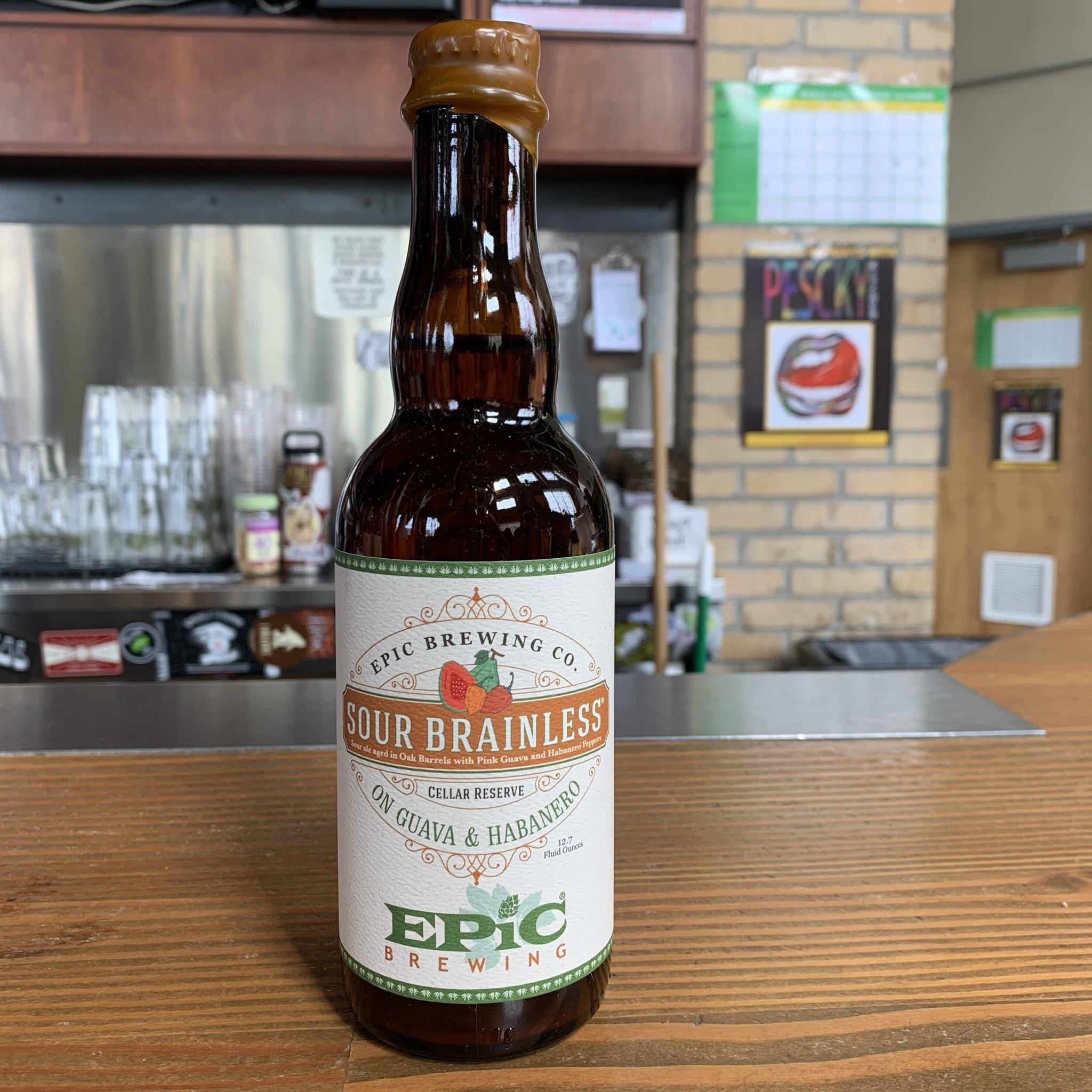 """Epic Brewing Co """"Sour Brainless"""" Guava & Habanero 12.7oz bottle- Denver, CO"""