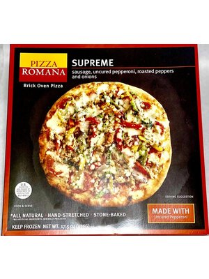 Pizza Romana Supreme Brick Oven Pizza with Sausage, Pepperoni, Roasted Peppers & Onions, Marche, Italy