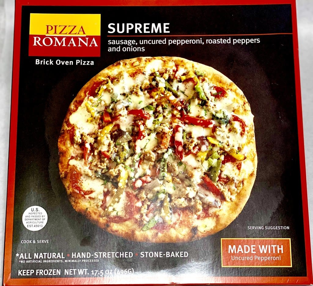 Pizza Romana Supreme w/ Sausage, Pepperoni, Roasted Peppers & Onions